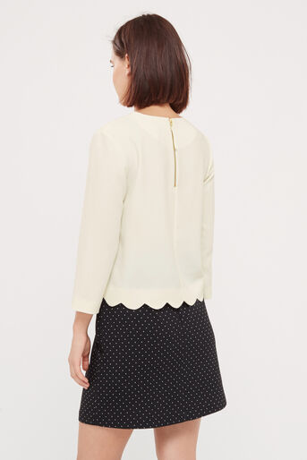 Oasis, SCALLOP 3/4 SLEEVE TOP Off White 3