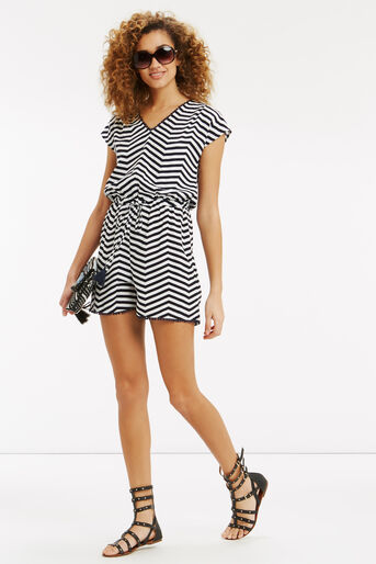 Oasis, Stripe Playsuit Black and White 2