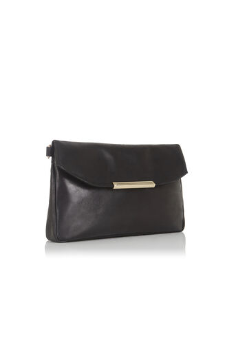 Oasis, Leather Willow Clutch Bag Black 2
