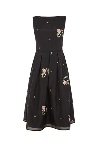 Oasis, SUMMER BLOOM EMBROIDERED DRESS Multi Black 0
