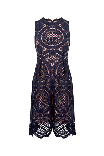 Oasis, LACE DRESS Navy 0