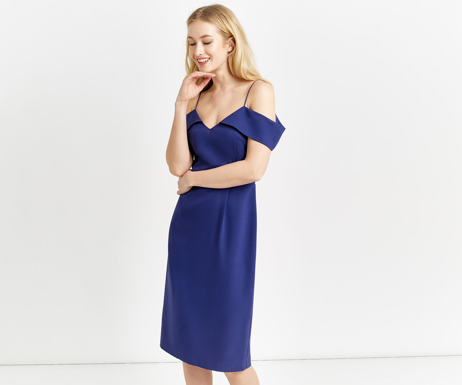 Oasis, LONG BARDOT DRESS Cobalt Blue 1