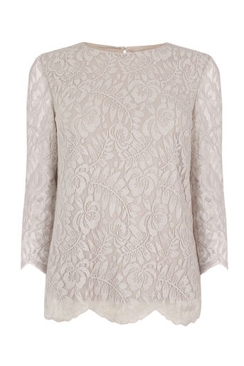 Oasis, NTU LACE LONG SLEEVE TOP Metallic Pewter 0