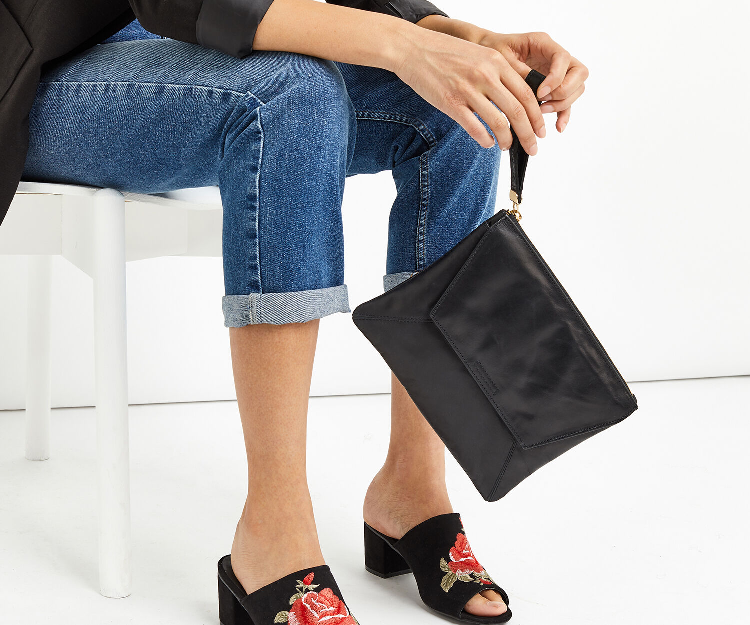 Oasis, LEATHER CLUTCH Black 1