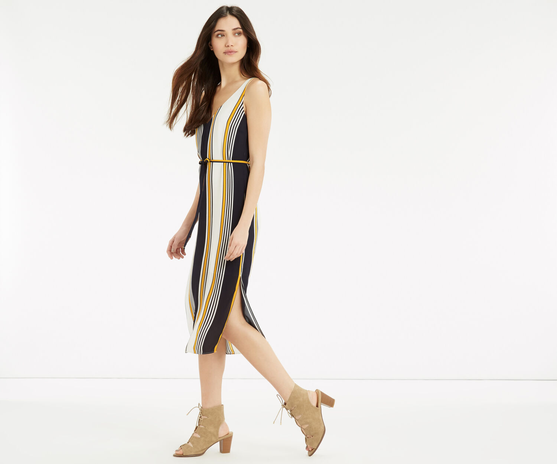 Oasis, Stripe Midi Slip Dress Multi Blue 1