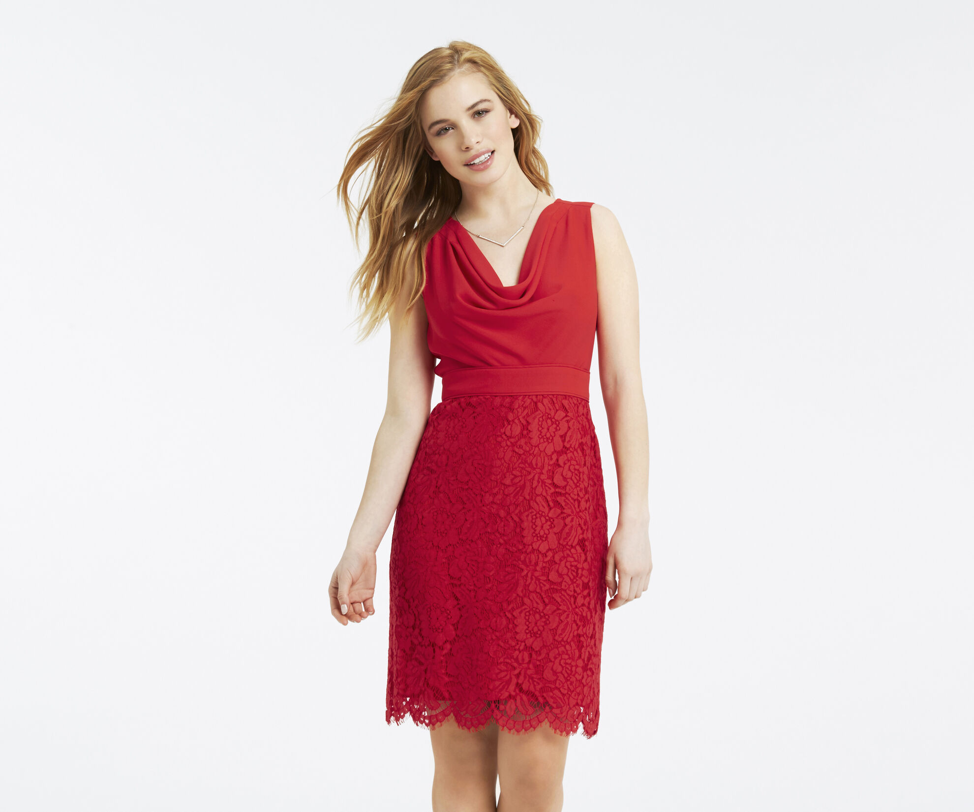 Oasis, Petite Cowl Neck Dress Rich Red 1