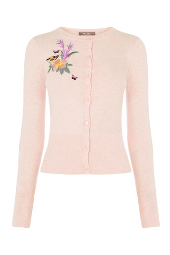 Oasis, EMBROIDERED CREW CARDI Powder Pink 0