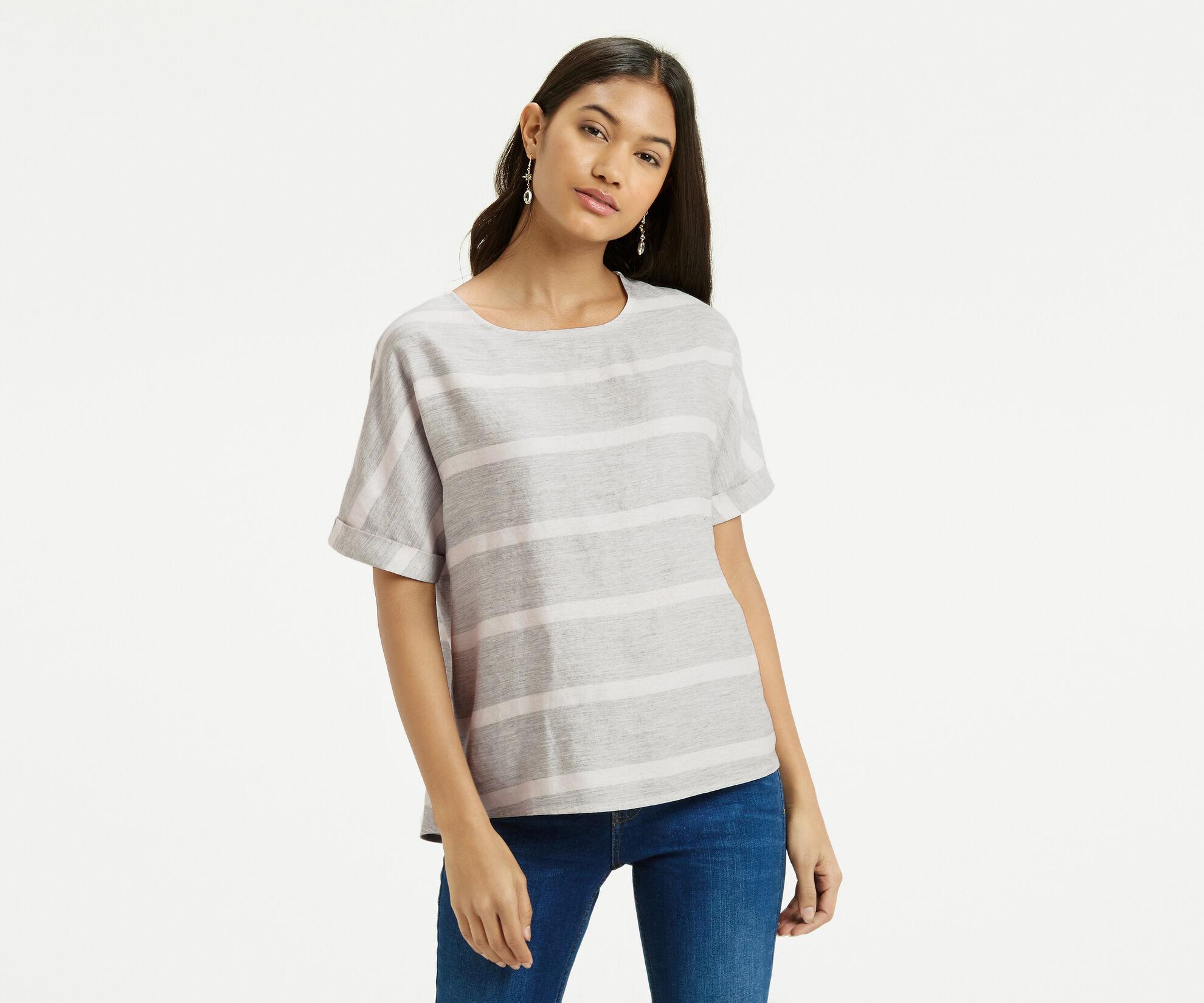 Oasis, Textured Stripe T-Shirt Multi 1