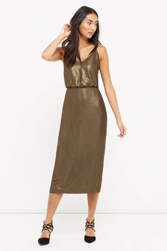 Oasis, METALLIC MIDI DRESS Gold 1