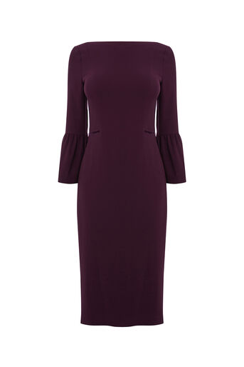 Oasis, BELL SLEEVE DRESS Burgundy 0