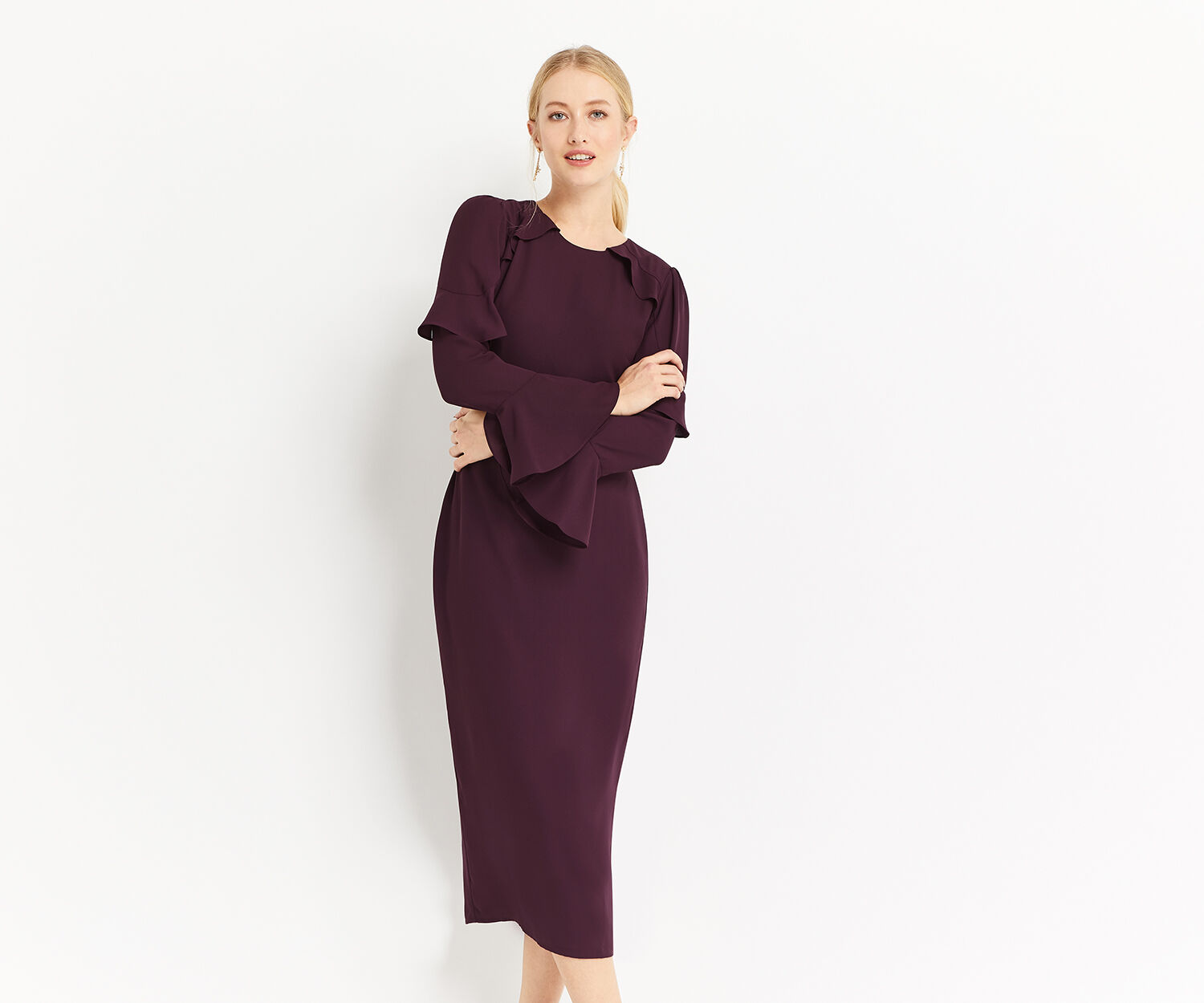 Oasis, FLUTED SLEEVE SHIFT DRESS Berry 1