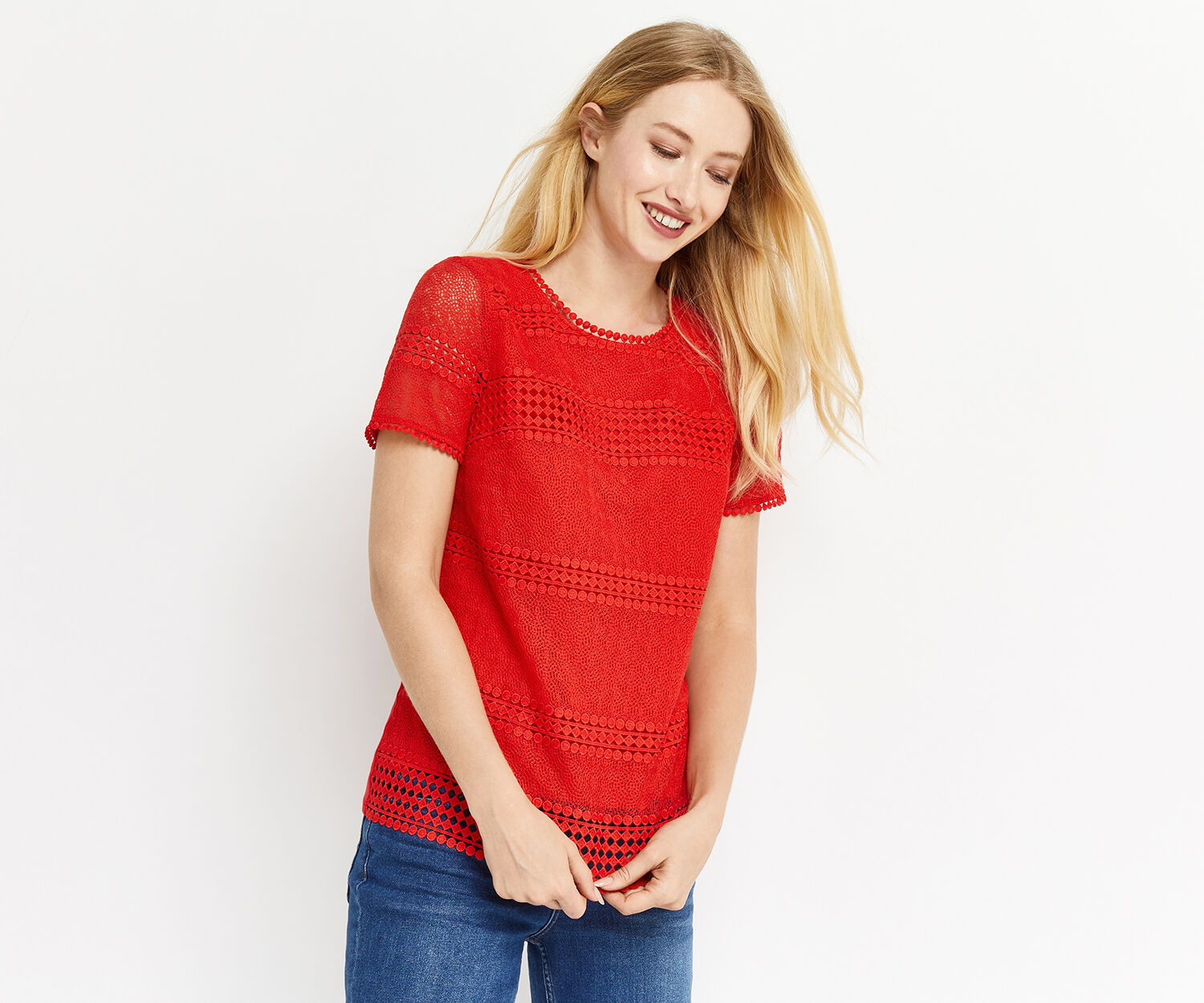 Oasis, MARAIS LACE TEE Mid Red 1