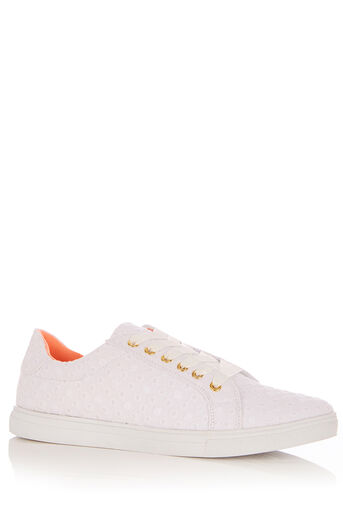 Oasis, ELSA EMBROIDERED SPOT TRAINER White 0