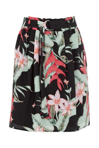 Oasis, Tropical Belted Skirt Multi Black 0