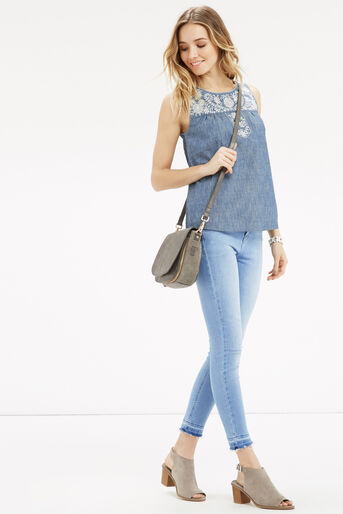 Oasis, Alicia Embroidered Top Denim 2