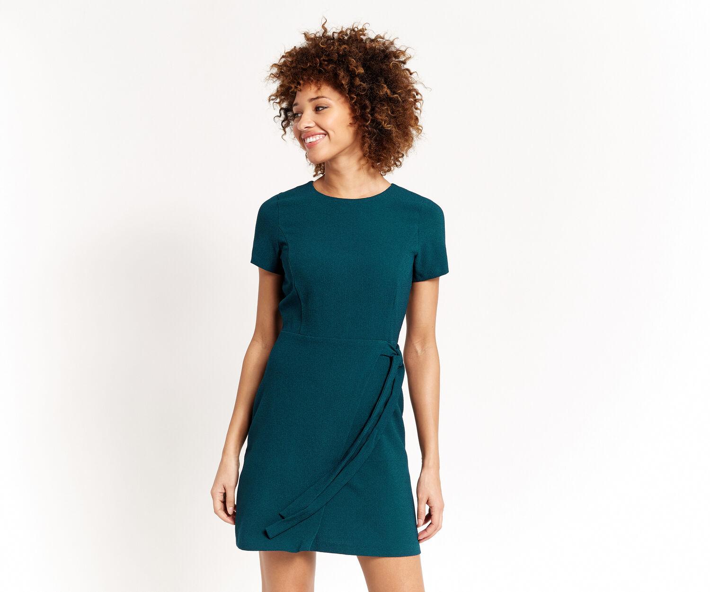 Oasis, TIE SIDE SHIFT DRESS Teal Green 1