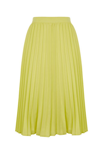 Oasis, LUCIA PLEATED SKIRT Pale Yellow 0