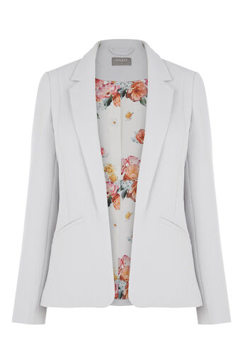 Oasis, Tailored Textured Jacket Pale Grey 0