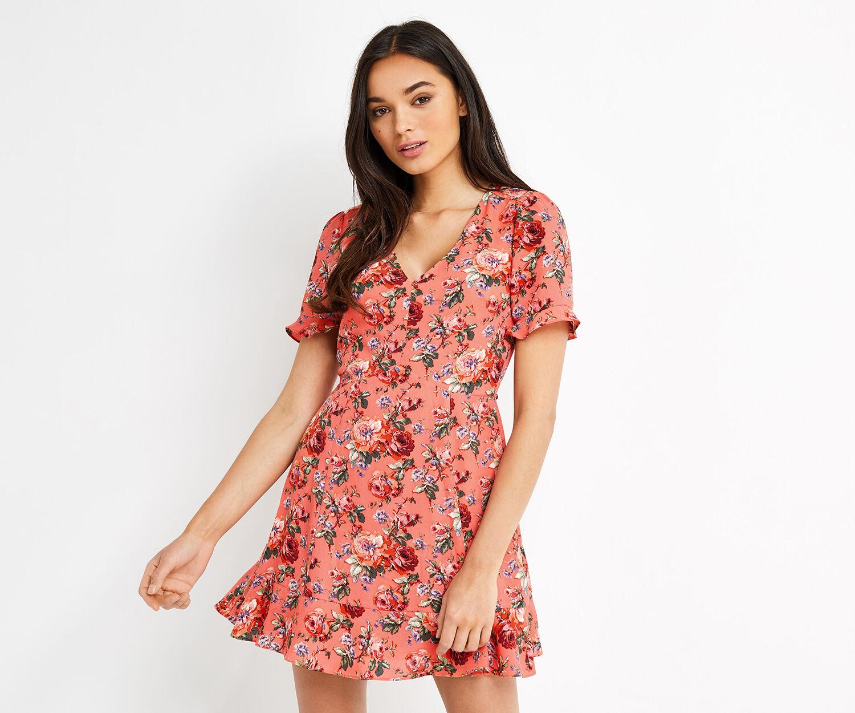Oasis, SHORT UTILITY ROSE TEA DRESS Multi Red 1