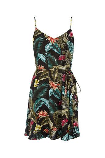 Oasis, MIAMI TROPICAL DRESS Multi Black 0