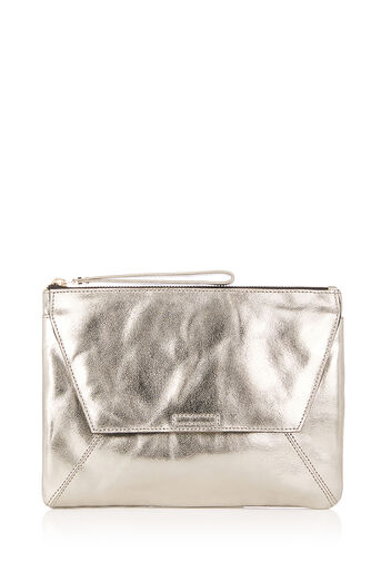 Oasis, LEATHER DEX CLUTCH Metallic Pewter 0