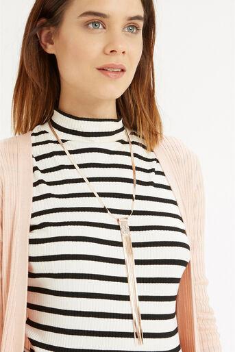 Oasis, Sleek Chain Tassel Necklace Gold 1