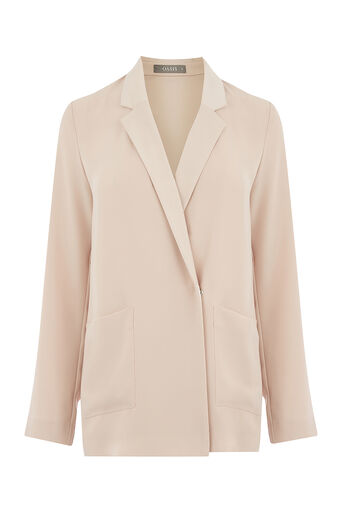 Oasis, SOFT CREPE BLAZER Mid Neutral 0