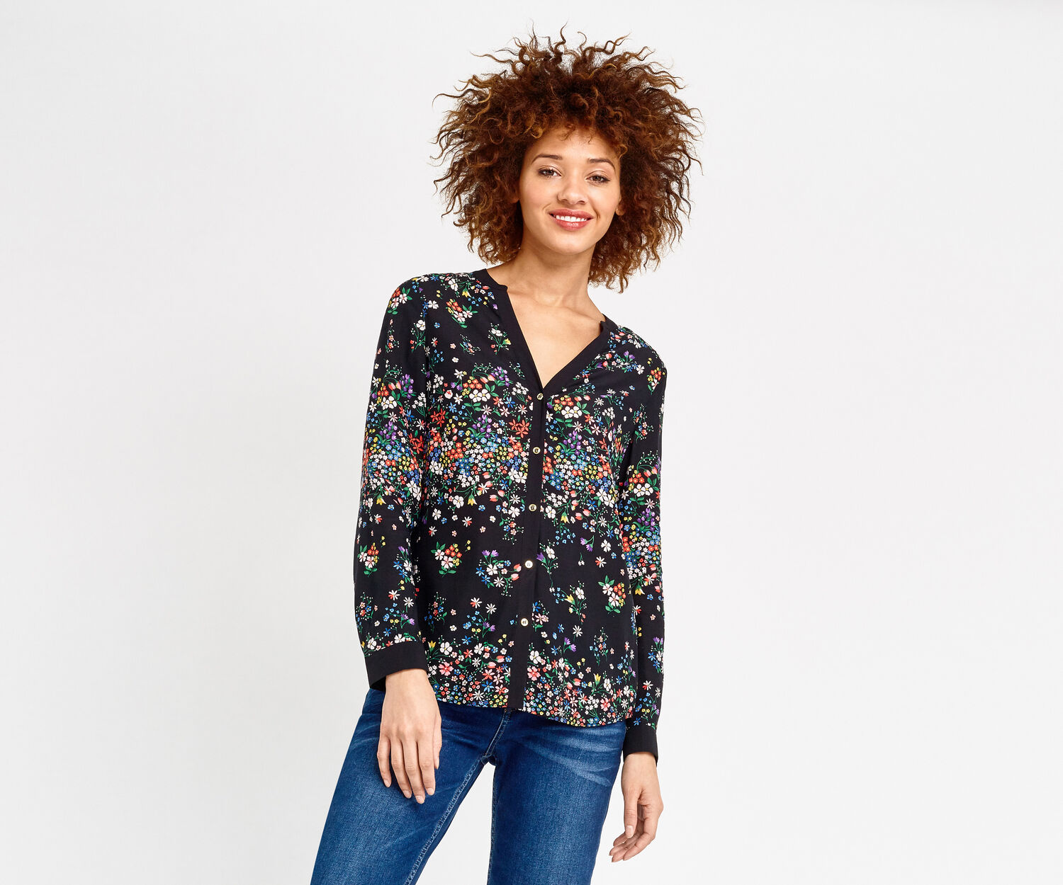 Oasis, DITSY PLACEMENT SHIRT Multi Black 1