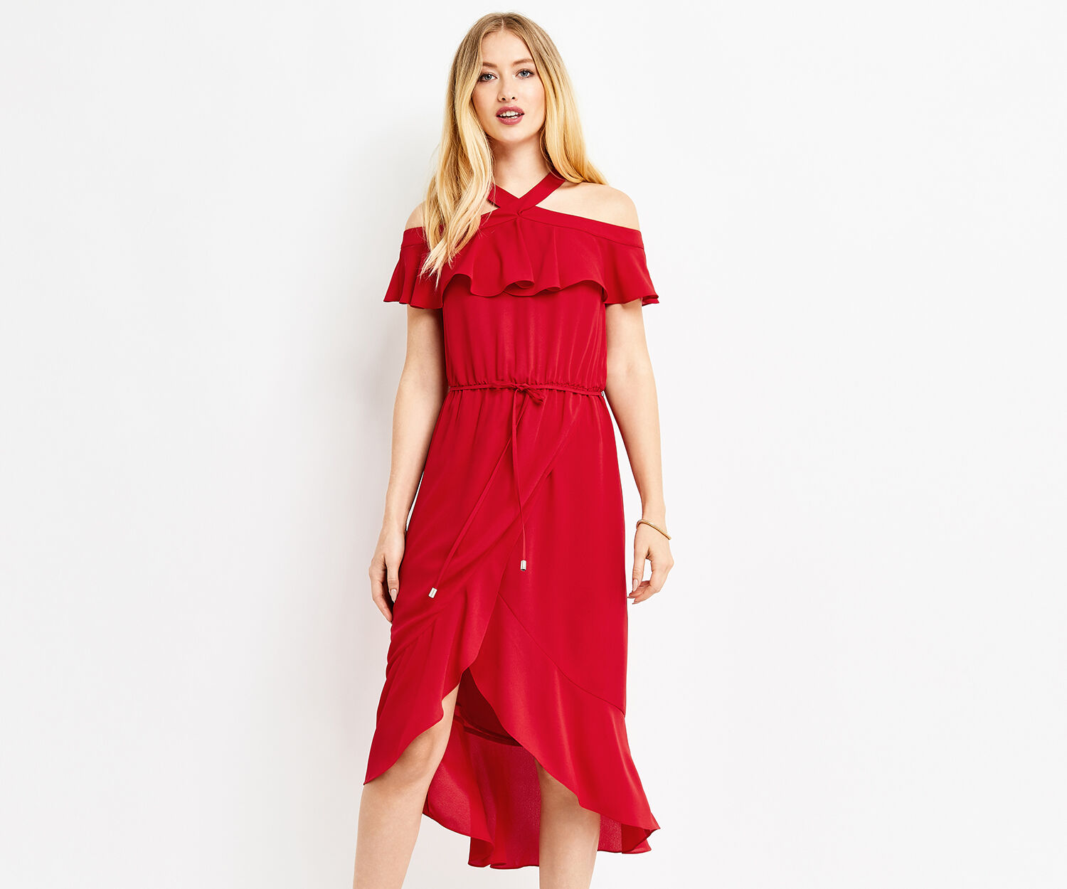 Oasis, PLAIN HALTER BARDOT DRESS Rich Red 1