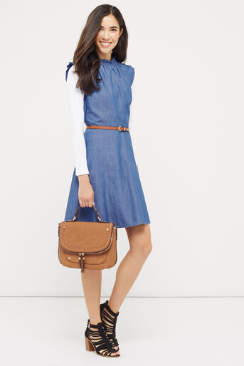 Oasis, Chambray Frill Dress Denim 2