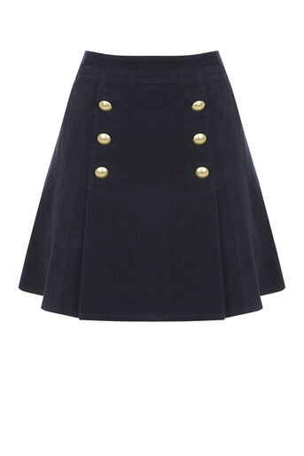 Oasis, Pleated cord skirt Navy 0