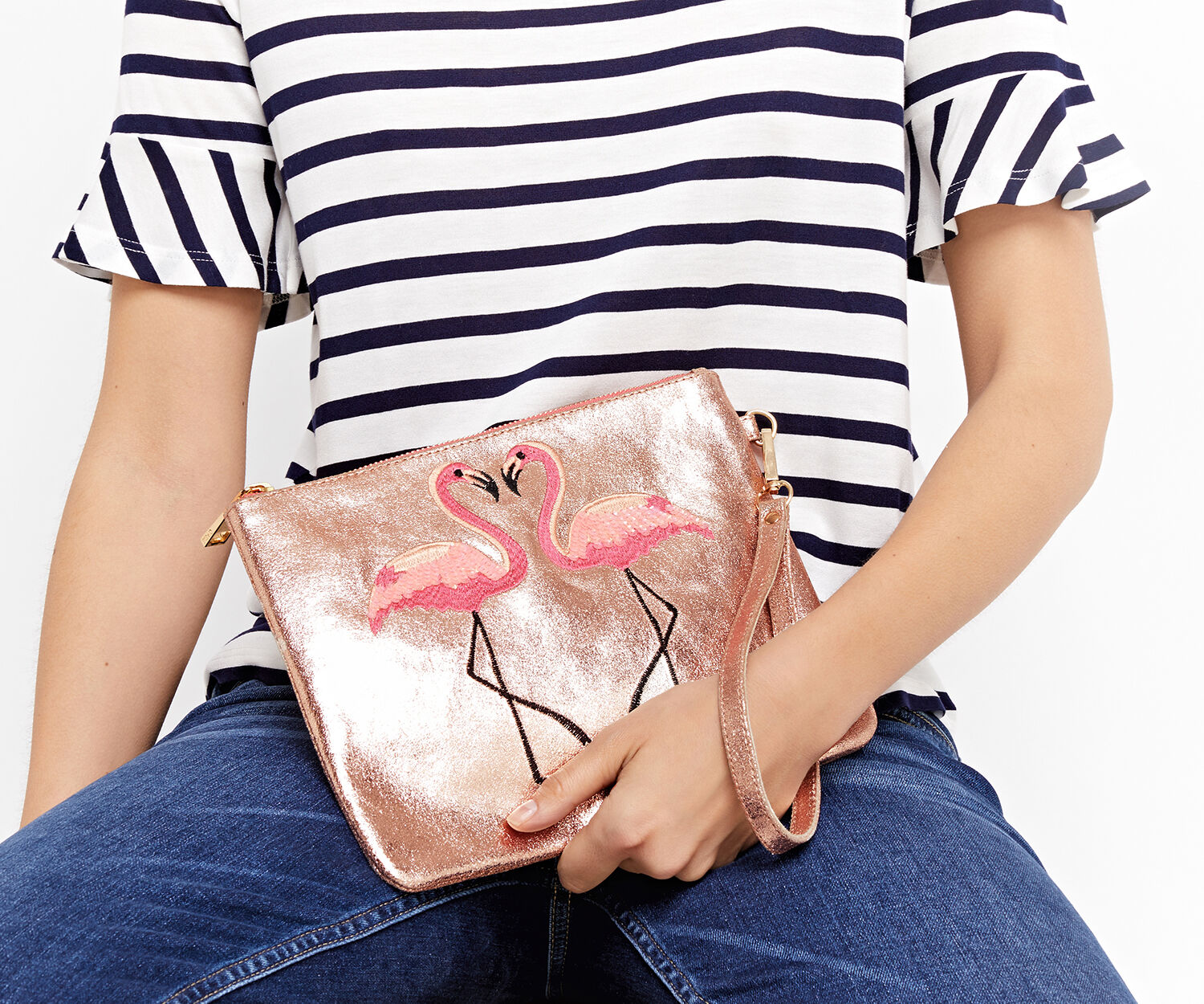 Oasis, KISSING FLAMINGO CLUTCH Pale Pink 1