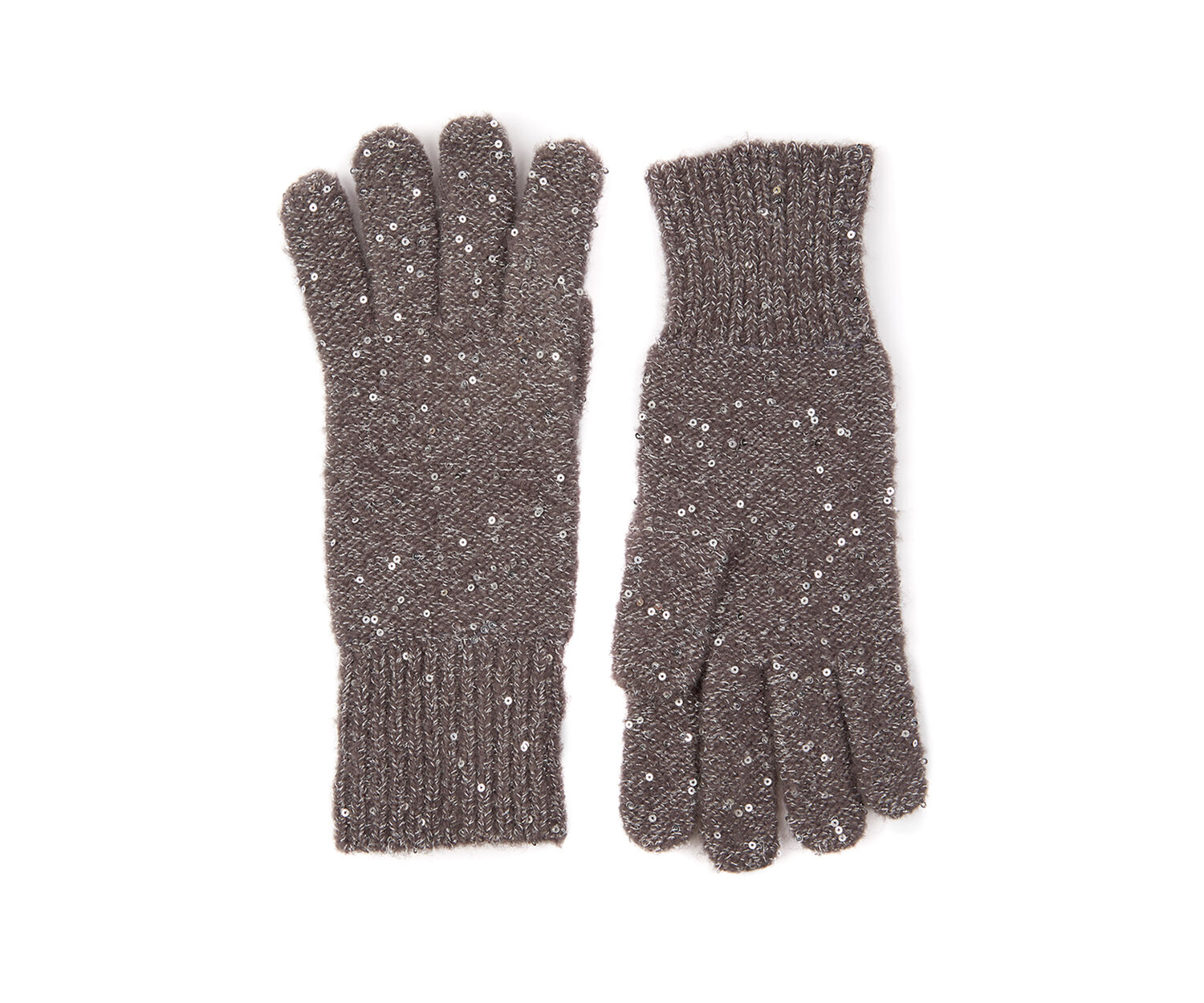Oasis, SEQUIN KNITTED GLOVE Mid Grey 1