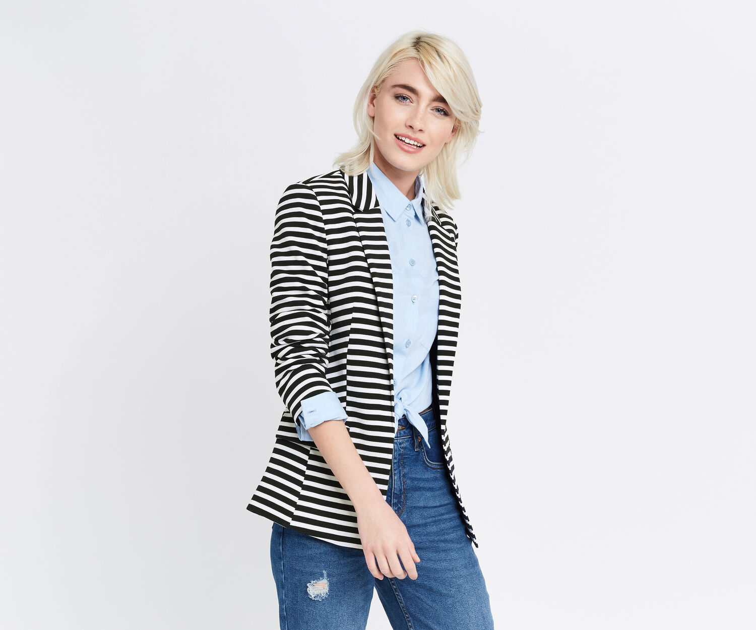 Oasis, STRIPE PONTE JACKET Multi 1