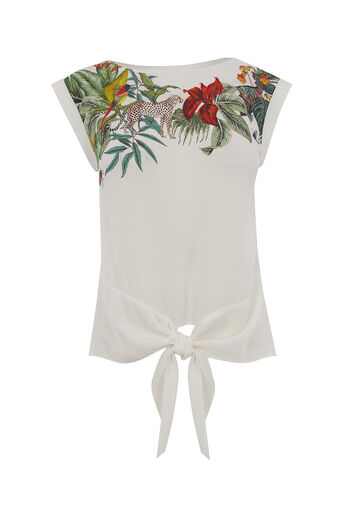Oasis, ZSL TIE FRONT TEE Multi Natural 0