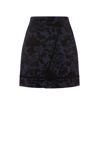 Oasis, FLOCKED MINI SKIRT Navy 0