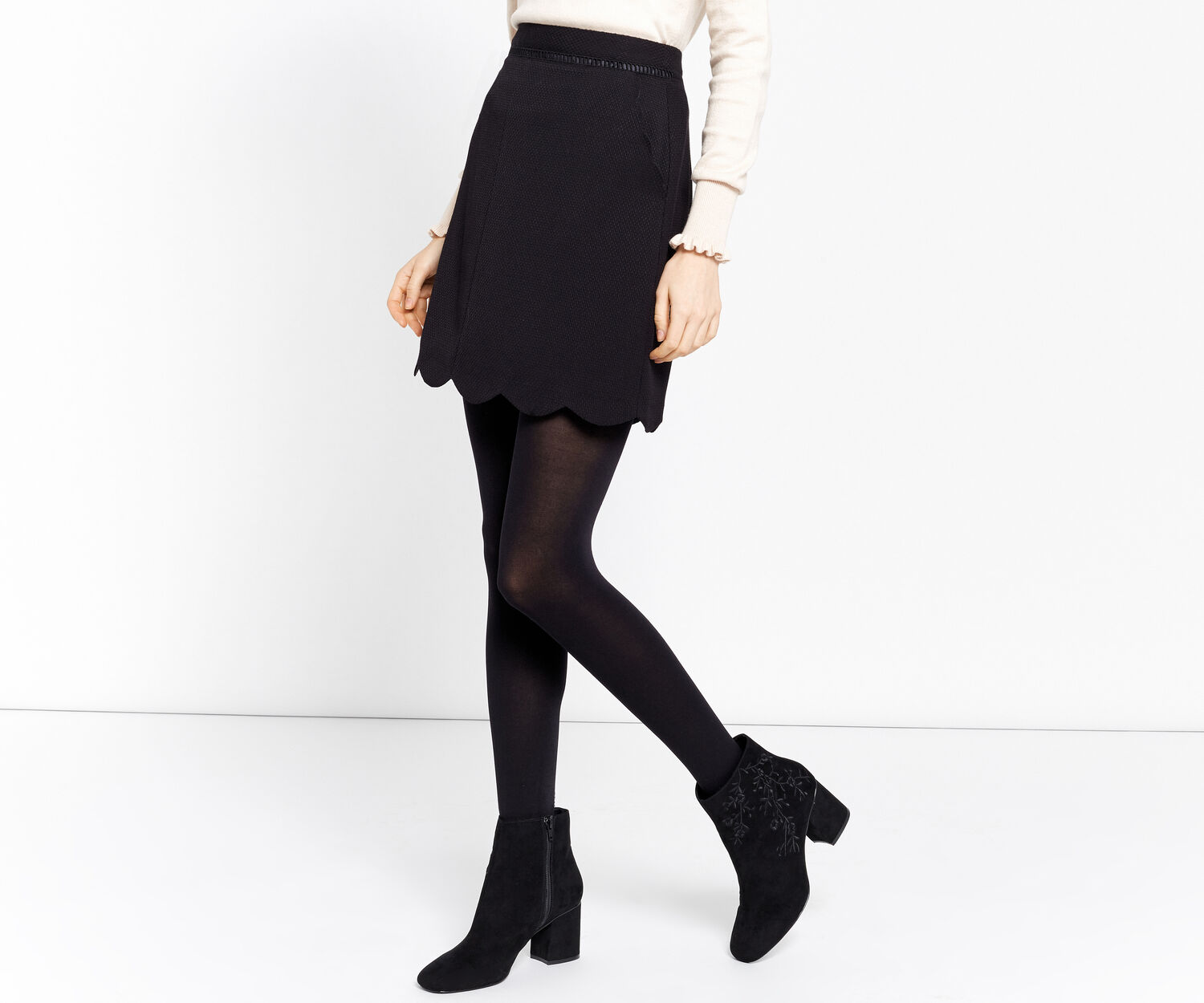 Oasis, THE SWEET SCALLOP SKIRT Black 1