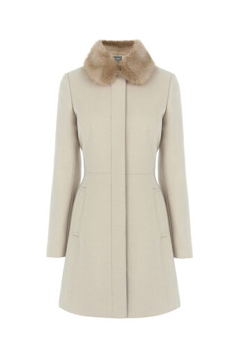 Oasis, SOPHIA FAUX FUR COLLAR COAT Off White 0