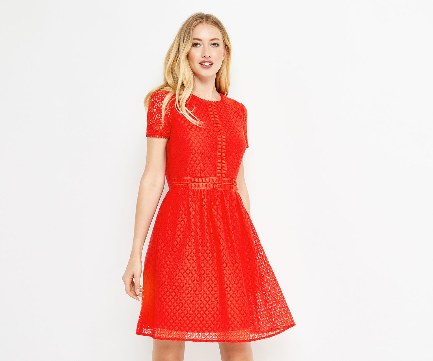 Oasis, LACE DAY SKATER DRESS Mid Red 1
