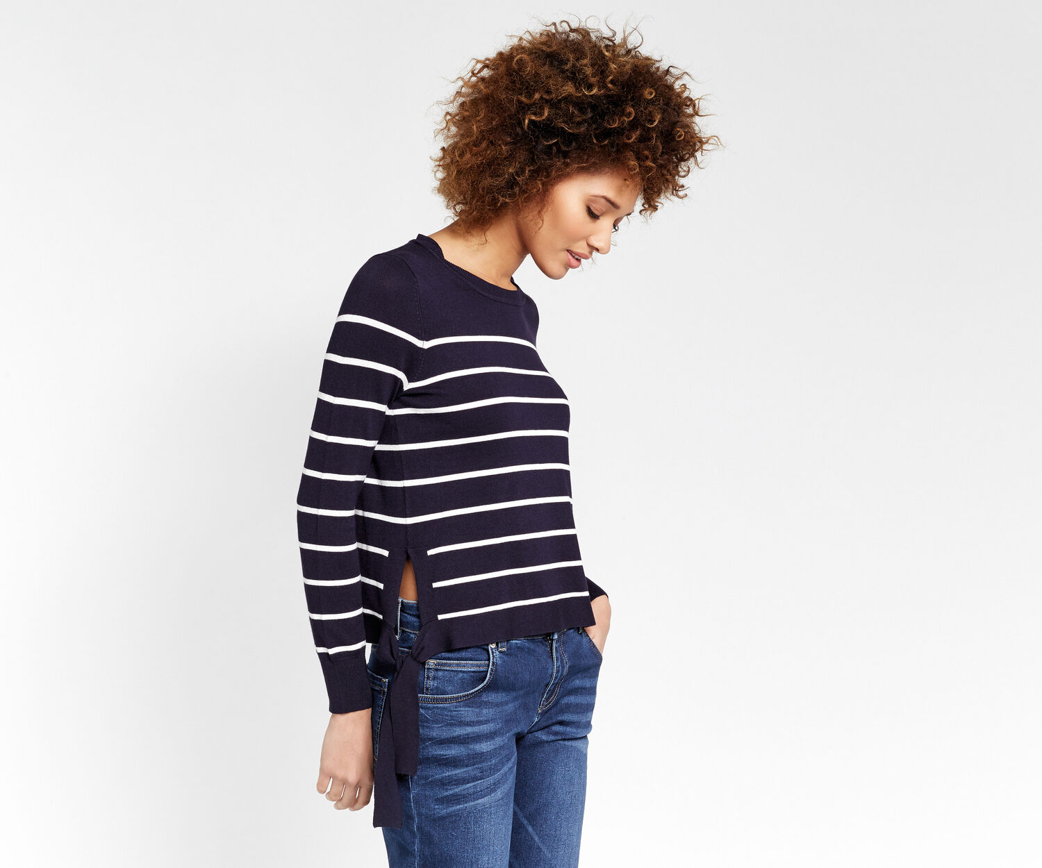 Oasis, Stripe Side Tie Jumper Multi Blue 1