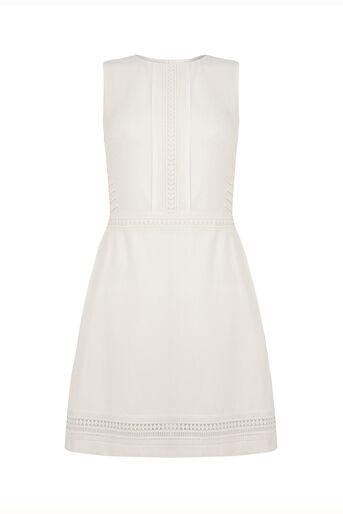 Oasis, Lace Trim Dress White 0