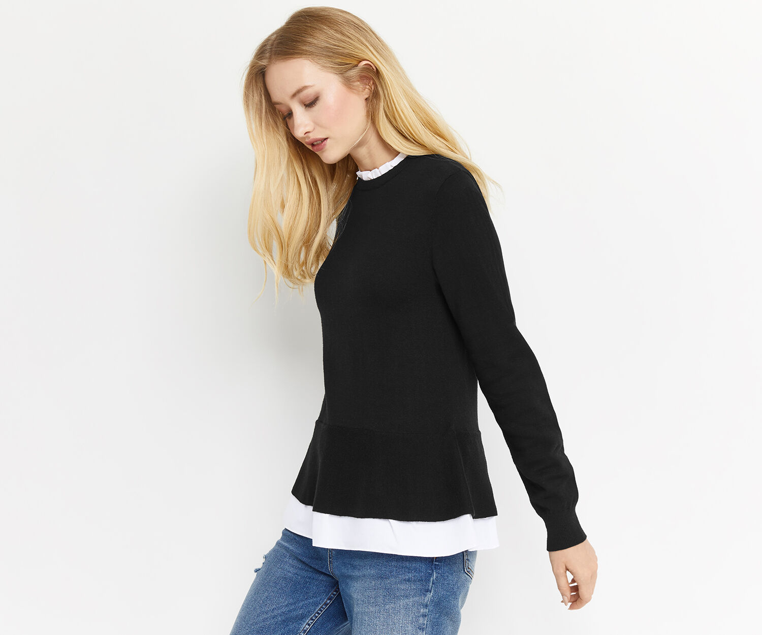 Oasis, WOVEN HIGH NECK KNIT Black 1