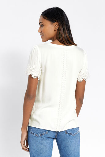 Oasis, LACE TRIM TEE White 3
