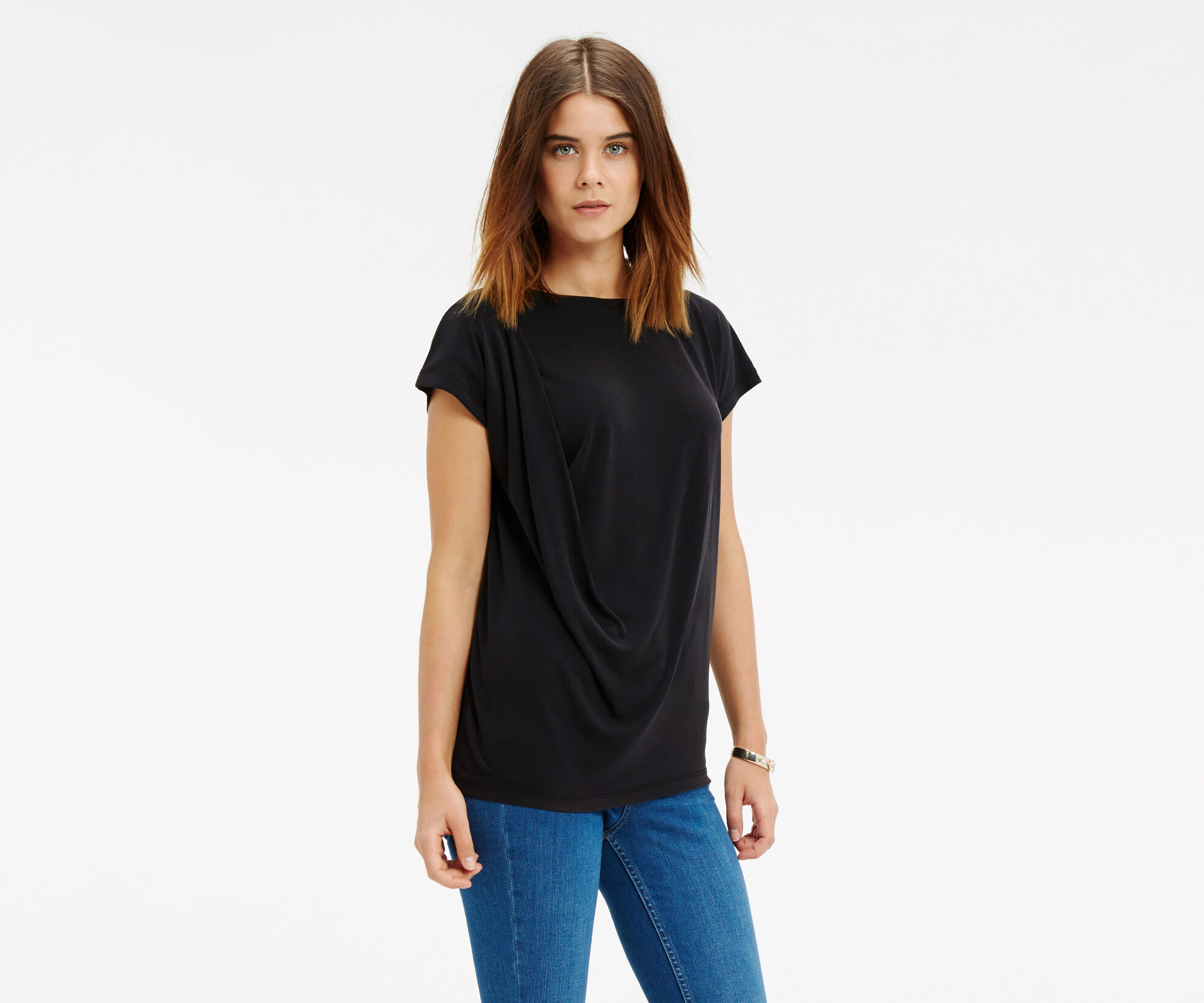 Oasis, Luxe Drape T-Shirt Mid Grey 1