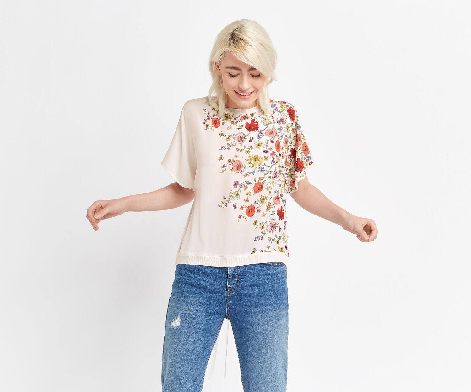 Oasis, FLORAL TIE DETAIL TOP Off White 1