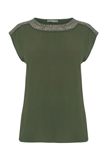 Oasis, EMBELLISHED TOP Khaki 0