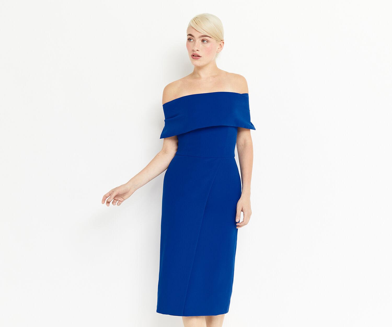 Oasis, BARDOT PENCIL DRESS Cobalt Blue 1