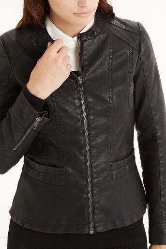 Oasis, Biker Peplum Jacket Black 4