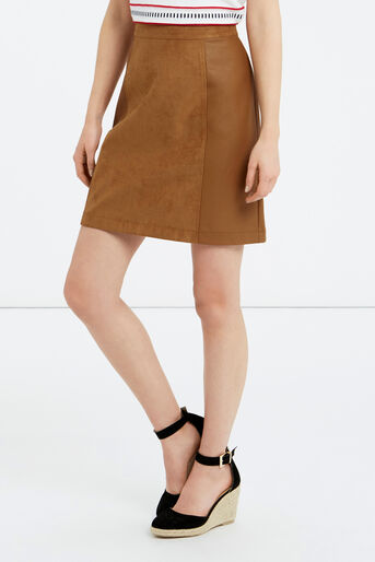 Oasis, SUEDETTE AND PU LEATHER SKIRT Tan 1