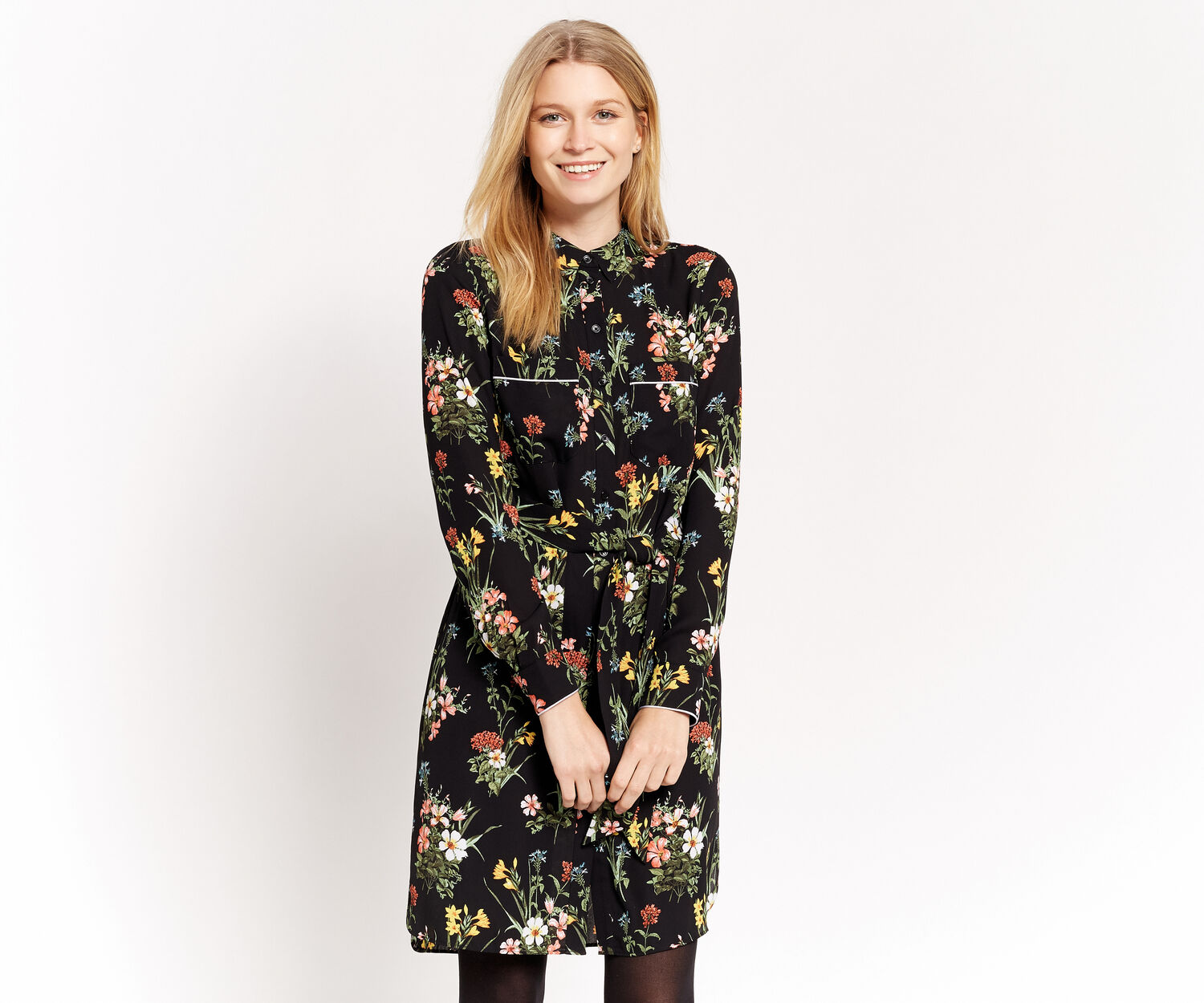 Oasis, WINTER LILLY SHIRT DRESS Multi Black 1